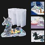 Molde de resina de unicornio 3D, ágata y cristal epoxi, moldes de silicona para hacer joyas, decoración de escritorio, manualidades, regalo