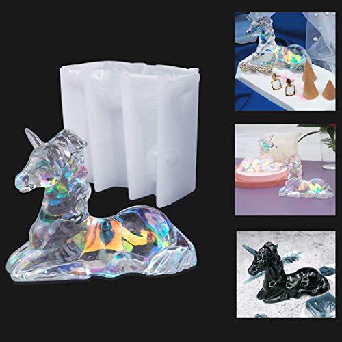 Molde de silicona con diseño de unicornio 3D para hacer joyas y manualidades