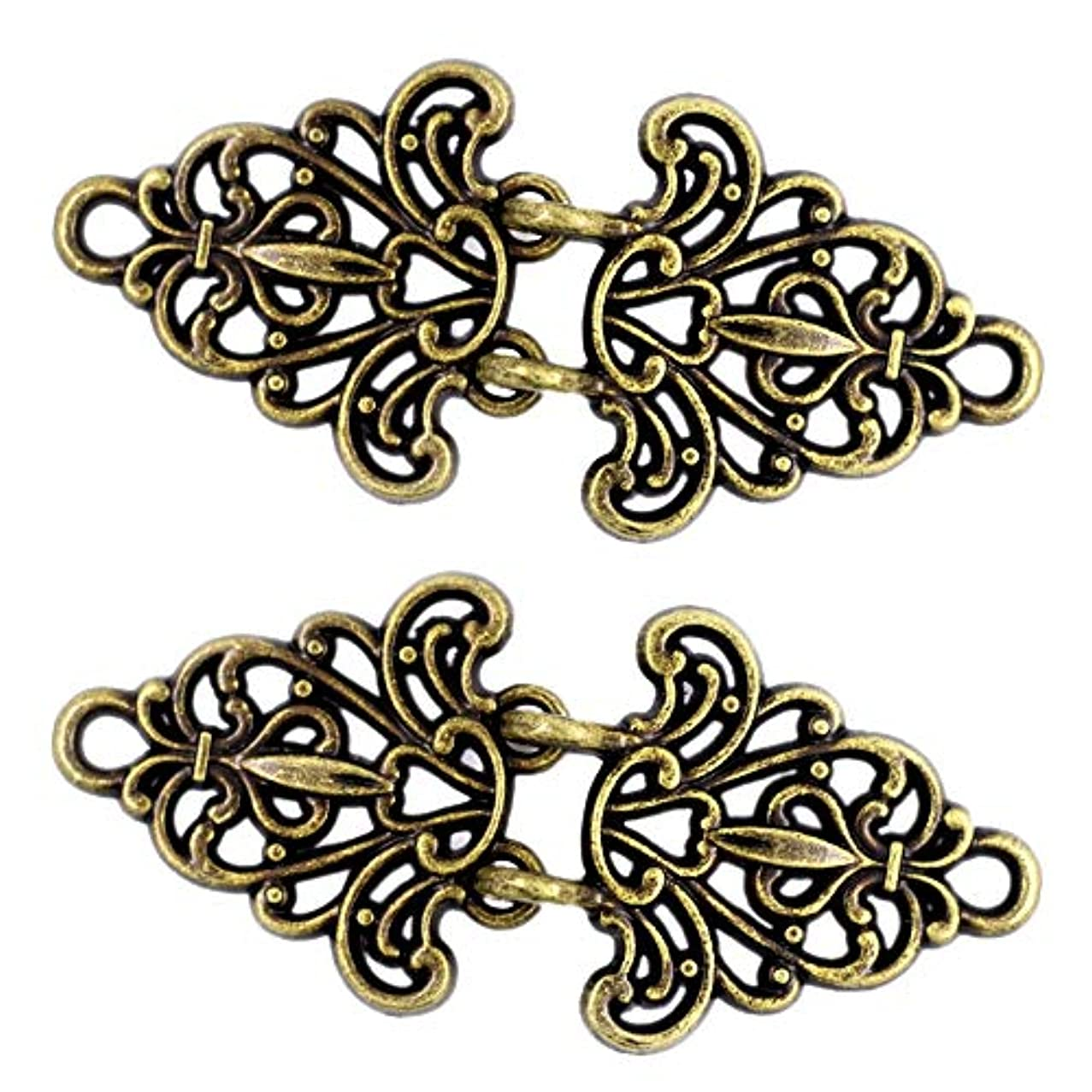 Bezelry 4 Pairs Filigree Trivet Cape or Cloak Clasp Fasteners. 64mm x 29mm Fastened. Sew On Hooks and Eyes Cardigan Clip (Antique Brass)