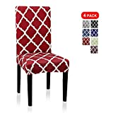 Dining Chair Covers, Geometric Print Dining Chair Slipcovers, Removable Washable Stretch Furniture Protector for Kitchen Room Hotel Table Banquet (4 Per Set, Wine Red)