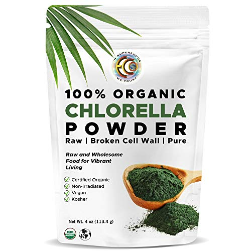 Earth Circle Organics - Certified Organic Chlorella Superfood Powder, Kosher, Cold Pressed, Broken Cell Wall, Vegan, High in Protein, Fiber & Amino Acids