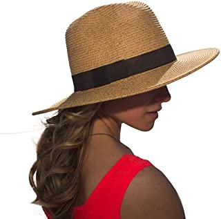 sungrubbies Large Brim Fedora Sun Hat for Women in Tan Great for Travel Packable Sun Hat from