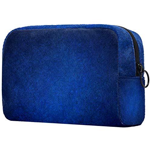 Trousse de maquillage portable à imprimé bleu foncé