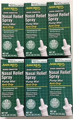 Nasal Relief Spray, Pump Mist, Anti-drip, Severe Congestion, (Oxymetazoline HCI) 12 Hours, 6 Pack.
