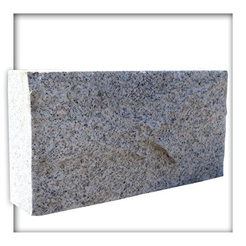 Kieskönig Mauerstein Granit Naturstein Hellgrau 40x7,5x20 cm Gesägt Trockenmauer Verblender Sockel 50 Stück (4,0 m²)