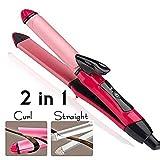 MAXELNOVA 2-in-1 Ceramic Plate Set of Hair Straightener Plus Curler (Pink, MN-105)