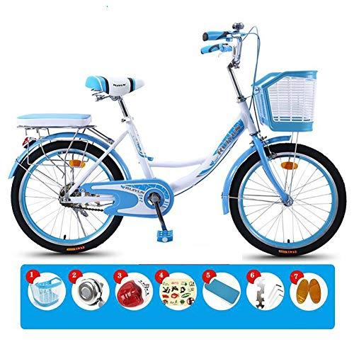 XIAOFEI 24 26 Pouces Lady Bike City Bike Ladies Bike/City Bike/City Cruiser Bike pour Les Femmes, Casual Commuter Lady Princess Light Retro Bicycle,Bleu,26\