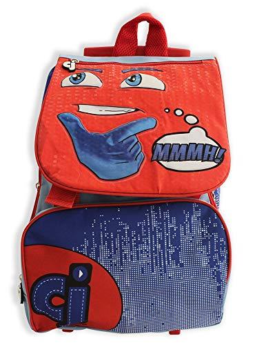 MCM Mochila Trolley Extensible Escuela Cj Mochila Casual, 40 cm, Rosso/BLU CJ0453D
