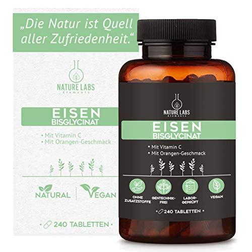 Eisen Tabletten – 40mg Eisen aus Bisglycinat + 40mg Vitamin C pro Tagesdosis - hochdosiert, vegan, 240 Tabletten laborgeprüft made in Germany, leckerer Orangengeschmack