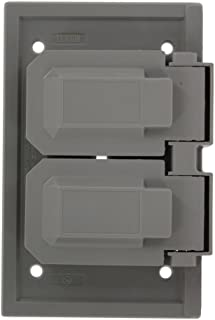 Leviton 4976-FS 1 Gang Duplex device Weather-Resistant Cover, Thermoplastic, for FS type box, two independent lids, Horizontal, Gray