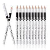 White Eyeliner Pencils Professional Use as Highlighter, Soft, Waterproof, Long-Lasting Eyeshadow, Eye Brightener, Beauty Makeup Tools (12pcs)