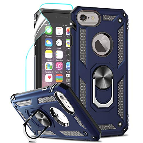 LeYi per Cover iPhone SE 2020, Custodia iPhone 6 / 6S /, iPhone 7/8 con Pellicola, 360°Regolabile Anello Magnetica Supporto Ring Armor Bumper TPU Case Silicone Custodie per Apple iPhone SE 2020 Blu
