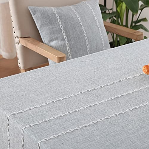 Tela de Mesa de Lino de algodón Liso Bordado de orillo de Encaje Hotel Rectangular Grueso Cubierta de Mesa de Comedor de Boda Tela 140x220cm S