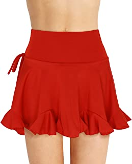 PVC Red Mini Skirt Women/'s Girls Short Cut Out Tie Stretch High Waist Slit 048