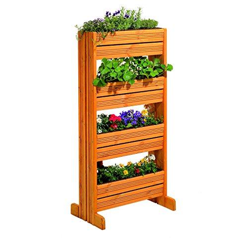 GASPO Vertikalbeet für Balkon und Garten | Hochbeet aus Holz | T 39,5 cm x H 133 cm x B: 65,5 cm, Natur | einfache Montage ohne Werkzeuge