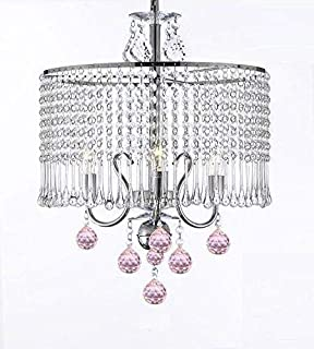 Contemporary 3-light Crystal Chandelier Chandeliers Lighting With Crystal Shade and Pink Crystal Balls! W 16