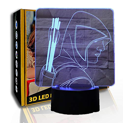 JINYI 3D Nachtlicht Bogenschützen Pfeile, LED optische Täuschungslampe, Acryl, B - Remote Black Base (7 Farben), Geschenk für Jungen, Tischlampe, Hohe Qualität, Kunsthandwerk