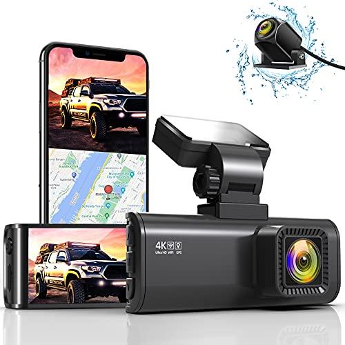 REDTIGER 4K Dual Dashcam mit integriertem WiFi GPS vorne 4K/2,5K und hinten 1080P Dual Dash Kamera für Autos, 8 cm Display, 170° Weitwinkel, Auto-Dashboard Kamera Recorder mit Sony-Sensor, unterstützt max. 256 GB