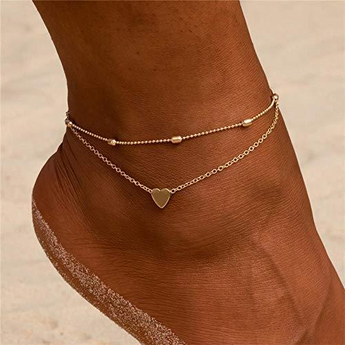 JEFEYI Tobillera de Playa Pulsera de Color Dorado con corazón para Mujer, Pulsera con Cuentas mágicas para pies, joyería para Caminar para Mujer, joyería descalza de Verano, playa-50198