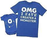 OMG I've Created a White Monster! - Passende Vater Baby Geschenkset - Herren T-Shirt & Baby Strampler/Baby Body - XXL & 3-6 Monate