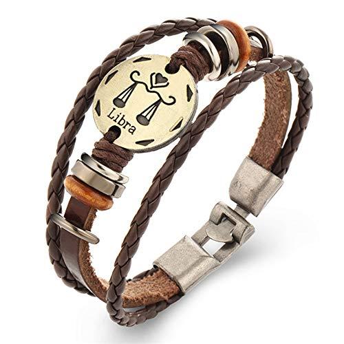 LLXXYY Lederen Armband, Punk Constellaties Lederen Bangle Mannen Vrouwen Casual Retro Handgemaakte Zodiac Mode Weegschaal Sieraden Paar Geschenken Accessiors