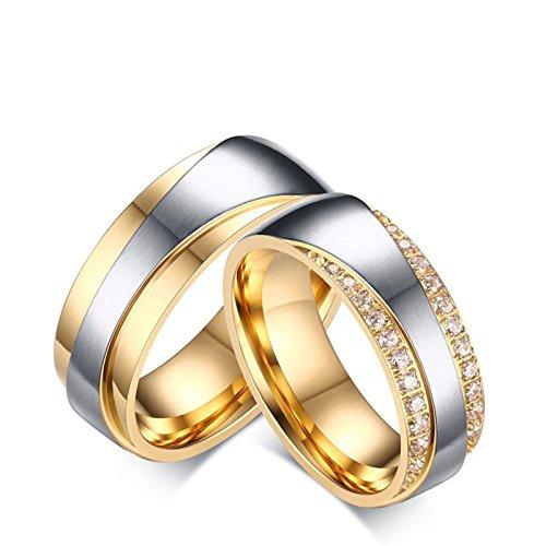 SonMo 2 Stück Frau Mann Edelstahl Eheringe Edelstahl Bicolor Trauringe Gold Und Silber für Paare Silber Gold Frau:54 (17.2) & Mann:57 (18.1) Breit:7MM