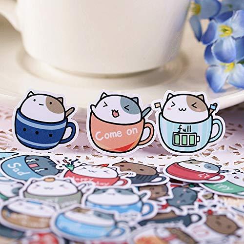 ZZHH 40 Uds Pegatinas Creativas Bonitas de Gato de Taza de café Hechas a sí Mismo Pegatinas de álbum de Recortes/Pegatina Decorativa/álbumes de Fotos de Manualidades DIY