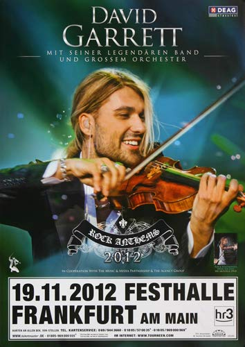 David Garrett - Rock Anthems, Frankfurt 2013 » Konzertplakat/Premium Poster   Live Konzert Veranstaltung   DIN A1 «