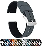22mm Smoke Grey/Black - Barton Elite Silicone Watch Bands - Quick Release - Choose Strap Color & Width