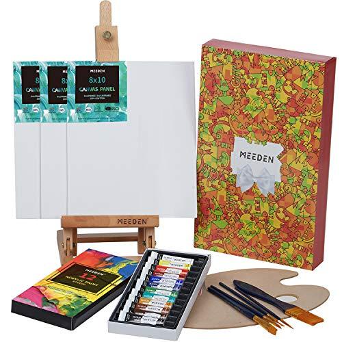 Meeden 22-teiliges Malset für Kinder mit 42,9 cm Tischstaffelei, 12 Farben Acrylfarben, 3 Leinwand, 5 Malpinsel und Holzpalette, perfektes Geschenk für Kinder, Kinder und Kunststudenten