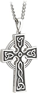 Men's Celtic Cross Necklace Sterling Silver Two Sided Irish Made