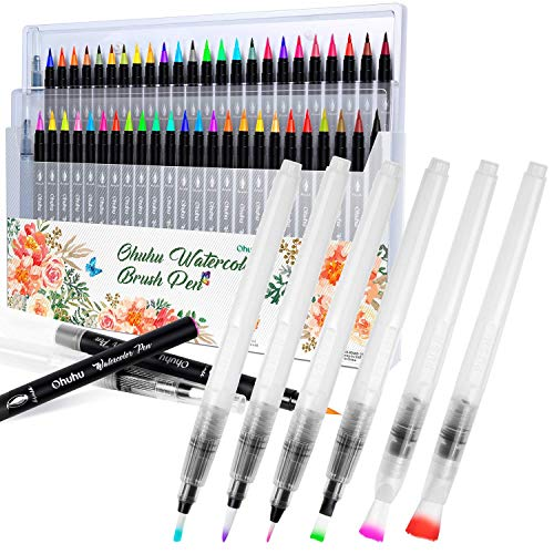 Ohuhu 48 Colors Water-Based Paint Marker with 2 Blending Aqua Brush + Set of 6 Aqua Painting Brushes for Water Soluble Colored Pencil, Water Color Water-Base Markers