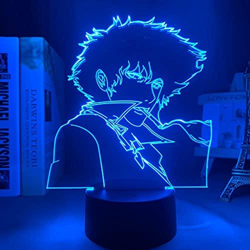 Lámpara de luz de noche Led Anime Cowboy Bebop Spike Spiegel para dormitorio Habitación decorativa Luz de noche Regalo de cumpleaños Luz de mesa 3d