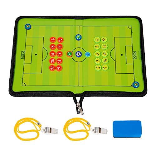 BizoeRade Fußball Taktikmappe mit Pfeifen Coach Board Mappe für Professional Fußball Trainer