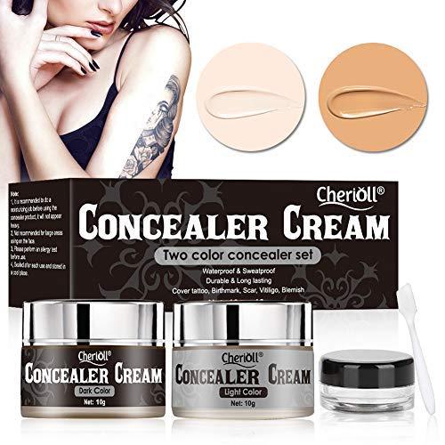 Tattoo Concealer, Make up concealer, Scar concealer, Scar make up, Body Concealer, Birthmark, Scar, Vitiligo, Blemish,Waterproof and Sweatproof, Long Lasting,Two Colors Cover Up Make up Concealer Set