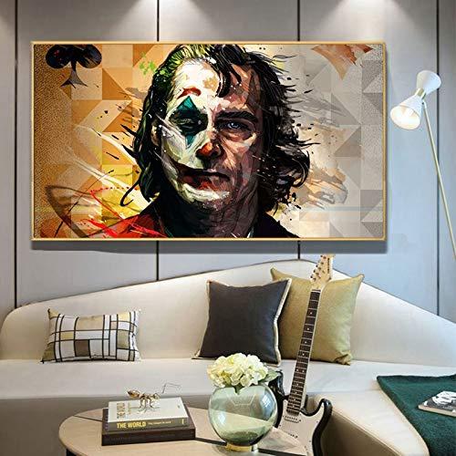 Aquarell Wanddekoration Film Porträt Poster drucken Wandkunst Gemälde auf Leinwand Clown Dekoration,Rahmenlose Malerei,30x52cm