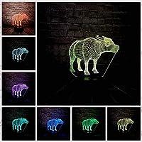 3DUSB充電LEDランプ7色動物牛テーブルデスクナイトライト寝室装飾ビジュアルギフトクリスマスの装飾