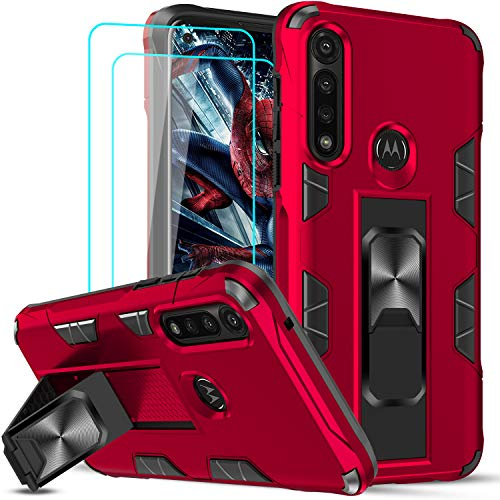 Moto G Power Case, Motorola G Power Case with Tempered Glass Screen Protector [2 Pack], LeYi Military-Grade Shockproof Built-in Kickstand Magnetic Car Mount Protective Case for Moto G Power, Red