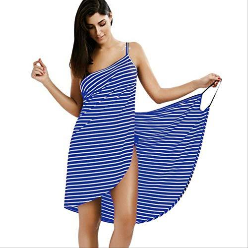MKHB handdoek vrouwen badjas bad meisje het dragen van een gestreepte handdoek rok sneldrogende Beach Spa magische pyjama om te slapen XXL blauw