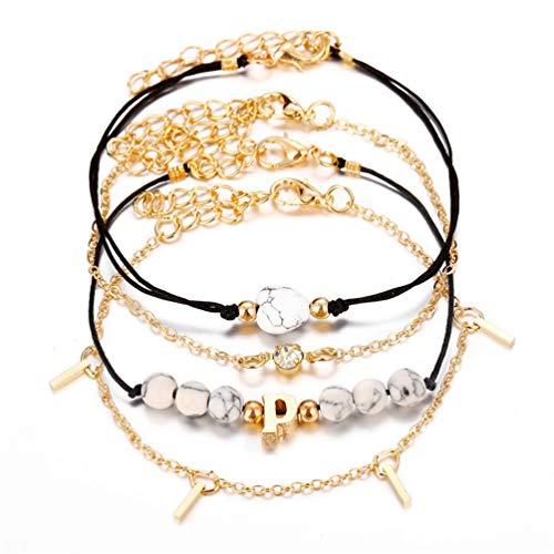 LWANFEI Böhmische Armband Set Layered Leaf Shell Quaste Anhänger Armbänder Armreifen Einstellbare Schmuck Geschenk, 1#