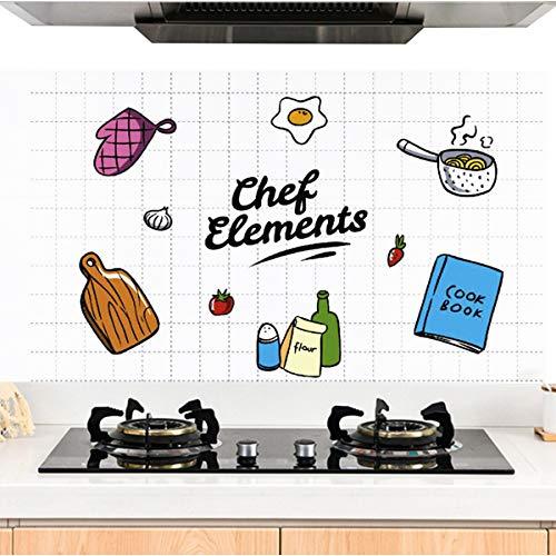 HQdeal Aluminium Folie Aufkleber Küchen, Selbstklebende Küchenfolie Hitzebeständig Tapete Öl-Resistent Wasserdicht Wandaufkleber für Küchen, Schrank, Möbel, 60 x 90 cm