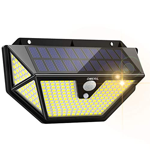 Luz Solar Exterior, OMERIL 286 LED 2600 Lumens Focos LED Exterior Solares con Sensor de Movimiento,...