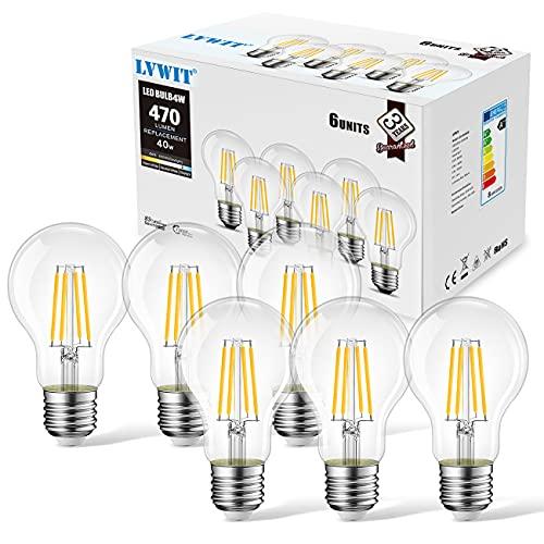 Lampadine a Filamento LED E27, 4W Equivalenti a 40W, 470LM, 2700K, Luce Bianca Calda, LVWIT A60, Consumo Basso, Risparmio Energetico, Non Dimmerabile, Confezione a 6 Pezzi.