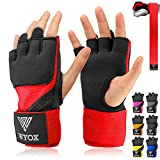 WYOX Boxing Wraps MMA Gloves Inner Boxing Gloves for Women & Men - EZ-Off & On - Thick Knuckle Padding - Breathable Fabric (Red, L/XL)