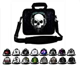 Funky Planet 17' 17.3' inch Shoulder Laptop Sleeve Case Bag Compatible with Apple MacBook air pro Dell Lenovo Samsung Asus Computer Tablet or Ipad (hs Black Skull Headphones)