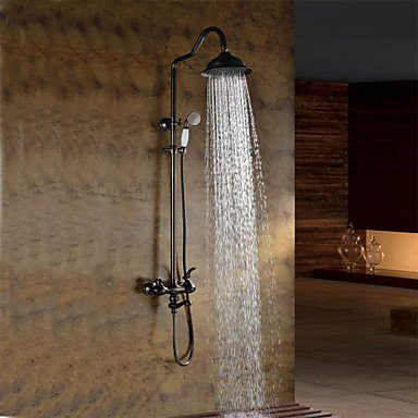 ZULUX Tmaker- Duscharmaturen - Antik - Regendusche/Handdusche inklusive - Messing ( Bronze mit Ölschliff )
