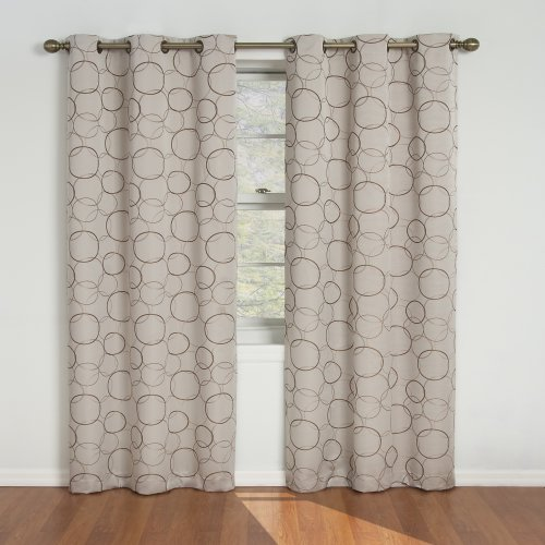 """ECLIPSE Meridian Thermal Insulated Single Panel Grommet Top Darkening Curtains for Living Room, 42"""" x 84"""", Linen"""