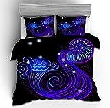 Ruitorly Ropa de cama de 155 x 220 cm, doce constelaciones, funda nórdica con cremallera, ropa de cama 3D #10, juego de funda nórdica y funda de almohada de 50 x 75 cm
