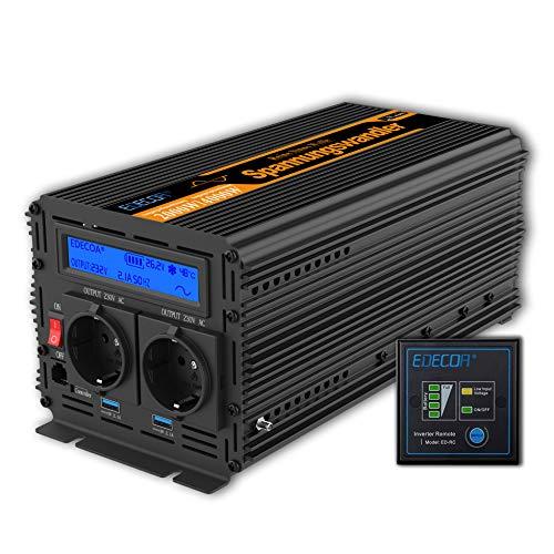 EDECOA Conversor Onda Pura 2000w Inversor 24v 220v con Pantalla LCD 2X USB y Mando a...