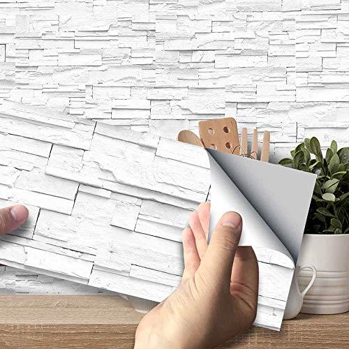 Hiser Adhesivos Decorativos para Azulejos Pegatinas para Baldosas del Baño/Cocina Estilo de Azulejos de Pared 3D Resistente al Agua Pegatina de Pared (Ladrillo de Piedra Blanca,54 Piezas)